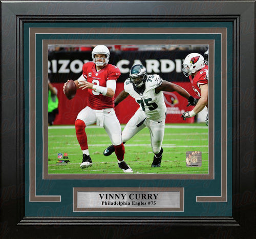 Vinny Curry in Action Philadelphia Eagles Framed Football Photo - Dynasty Sports & Framing