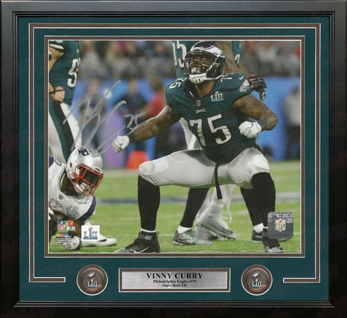Vinny Curry Super Bowl LII Philadelphia Eagles Autographed Framed Football Photo - Dynasty Sports & Framing
