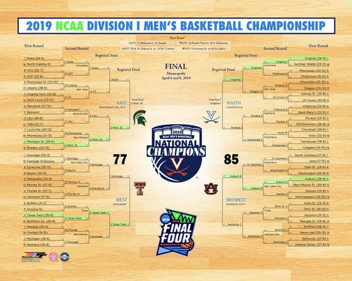 "Virginia Cavaliers 2019 NCAA College Basketball Champions 8"" x 10"" Tournament Bracket Photo"