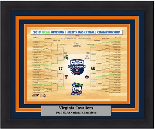 "Virginia Cavaliers 2019 NCAA College Basketball Champions 8"" x 10"" Tournament Bracket Framed and Matted Photo - Dynasty Sports & Framing"