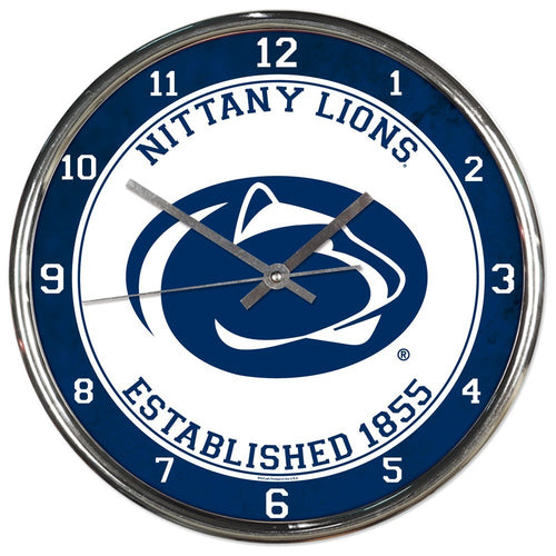 Penn State Nittany Lions Round Chrome Clock
