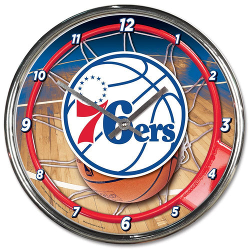 Philadelphia 76ers Round Chrome Clock