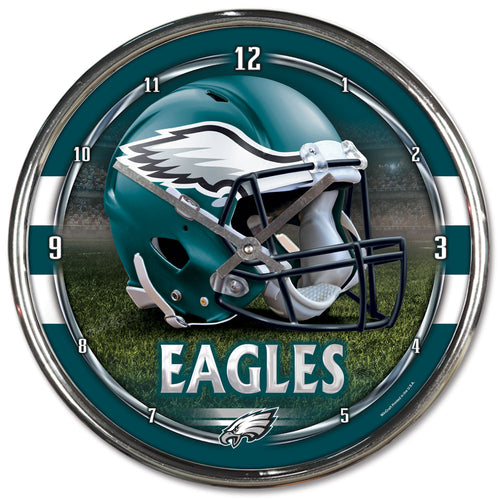 Philadelphia Eagles Round Chrome Clock - Dynasty Sports & Framing