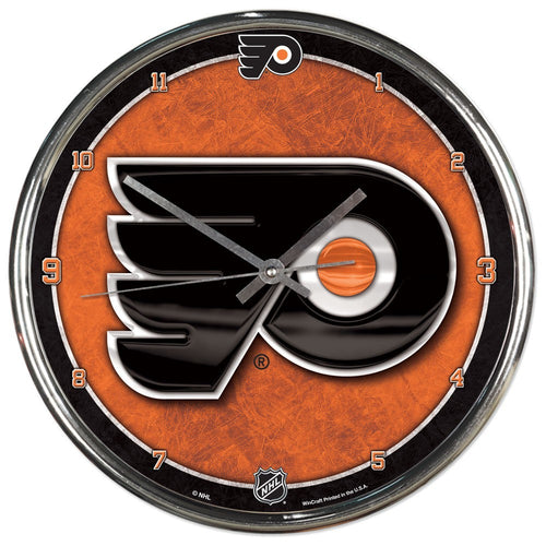 Philadelphia Flyers Round Chrome Clock