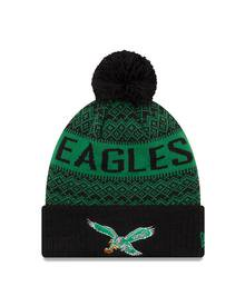Philadelphia Eagles Throwback Wintry Kelly Green Pom Mens Knit Hat