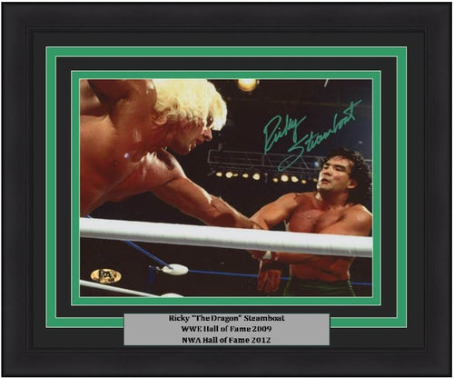 "Ricky ""The Dragon"" Steamboat v. Ric Flair Autographed 8"" x 10"" Framed WWE Wrestling Photo"
