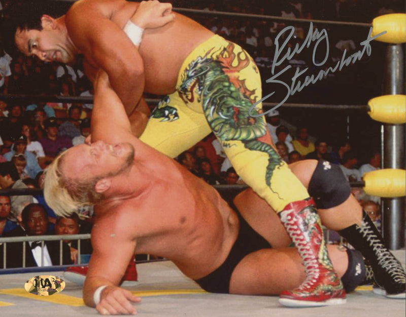 "Ricky ""The Dragon"" Steamboat v. Steve Austin Autographed 8"" x 10"" WWE Wrestling Photo - Dynasty Sports & Framing"