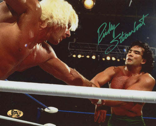 "Ricky ""The Dragon"" Steamboat v. Ric Flair Autographed 8"" x 10"" WWE Wrestling Photo"