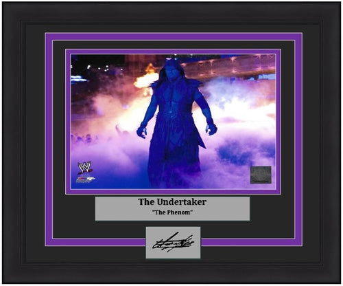 "The Undertaker Making His Entrance 8"" x 10"" Framed WWE Wrestling Photo with Engraved Autograph - Dynasty Sports & Framing"