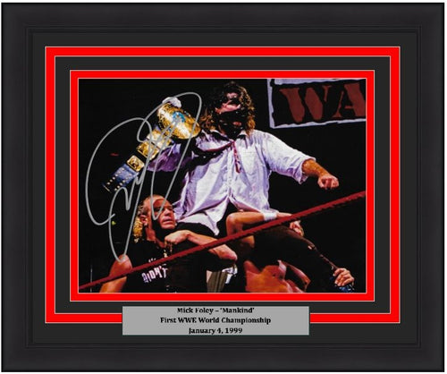 "Mick Foley Mankind First World Championship WWE Wrestling Autographed 8"" x 10"" Framed and Matted Photo"