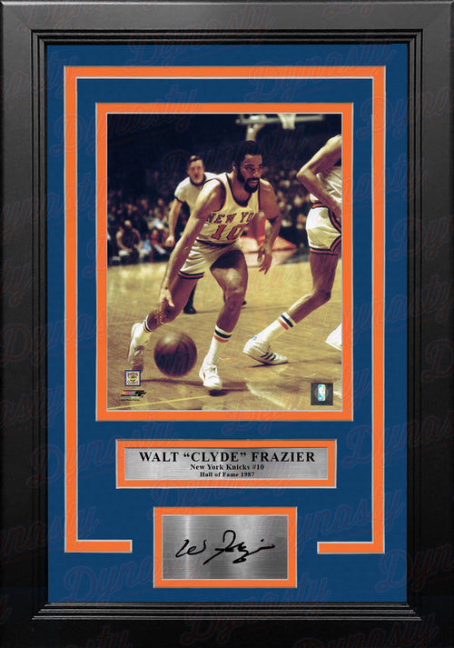 "Walt Frazier in Action New York Knicks 8"" x 10"" Framed Basketball Photo with Engraved Autograph - Dynasty Sports & Framing"