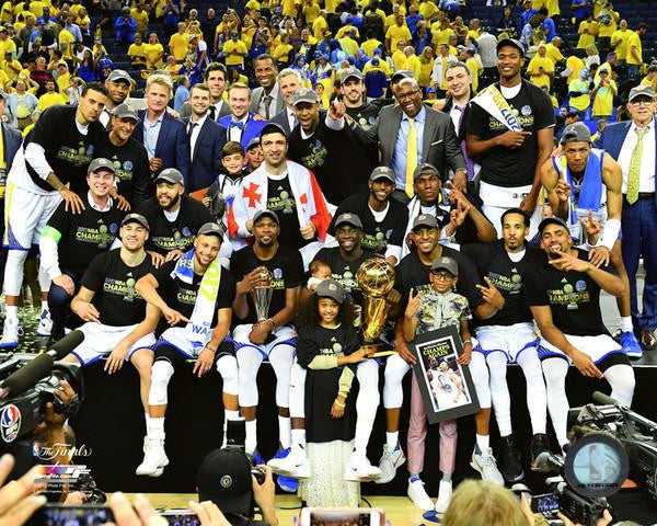 "Golden State Warriors 2017 NBA Champions On-Court Celebration Basketball 8"" x 10"" Photo - Dynasty Sports & Framing"