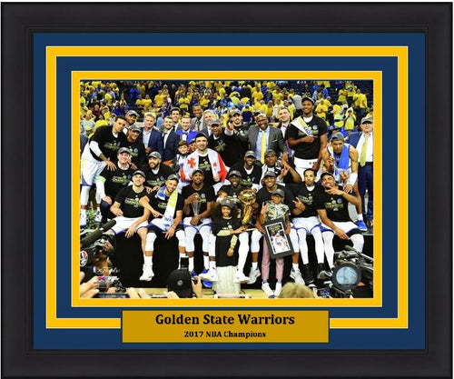 "Golden State Warriors 2017 NBA Champions On-Court Celebration Basketball 8"" x 10"" Framed and Matted Photo - Dynasty Sports & Framing"