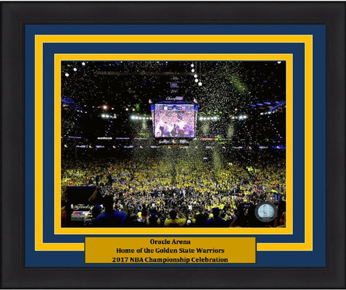 "Golden State Warriors 2017 NBA Champions Oracle Arena, Game 5 Celebration Basketball 8"" x 10"" Framed and Matted Photo - Dynasty Sports & Framing"