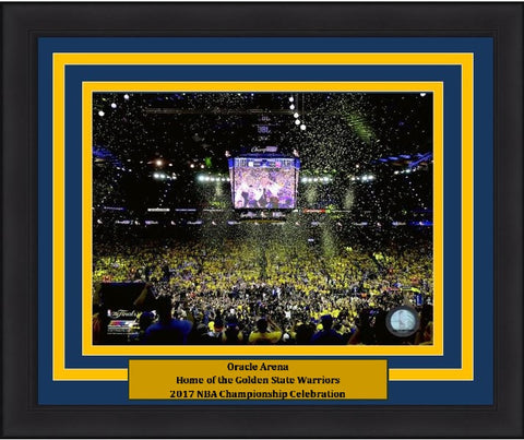 "Golden State Warriors 2017 NBA Champions Oracle Arena, Game 5 Celebration 8"" x 10"" Framed and Matted Photo"