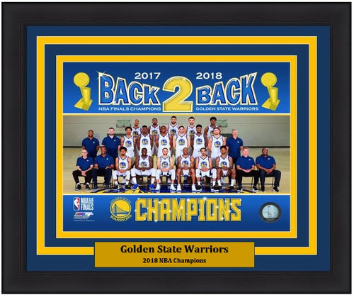 "Golden State Warriors 2018 NBA Champions Team Roster Line-Up NBA Basketball 8"" x 10"" Framed and Matted Photo"