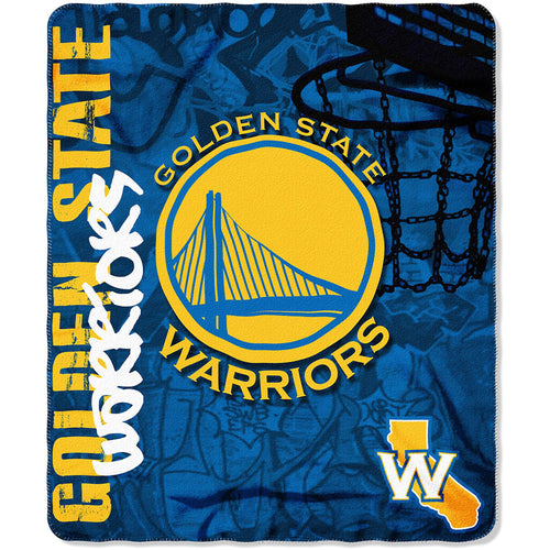 "Golden State Warriors NBA Basketball 50"" x 60"" Hard Knocks Fleece Blanket - Dynasty Sports & Framing"