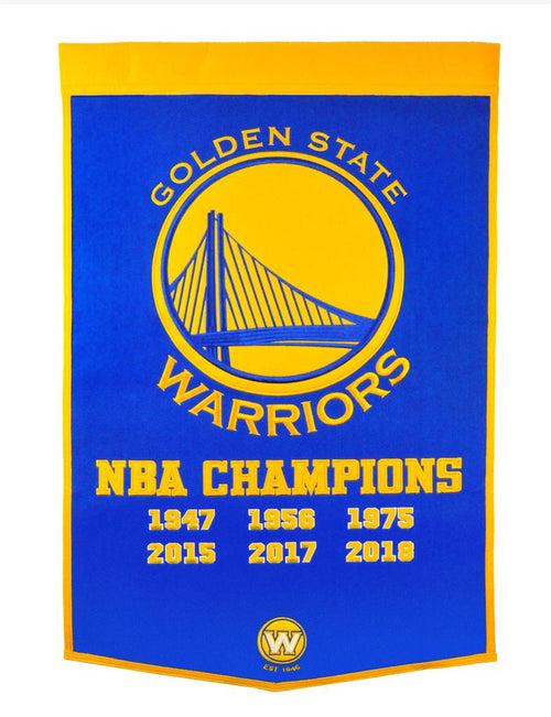 Golden State Warriors 2018 NBA Champions Basketball Wool Dynasty Banner - Dynasty Sports & Framing