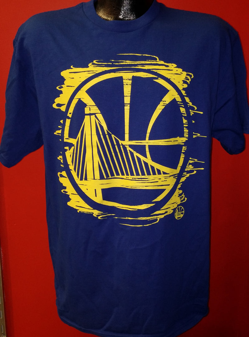 Golden State Warriors Majestic Blue T-Shirt with Painted-Style Team Logo - Dynasty Sports & Framing