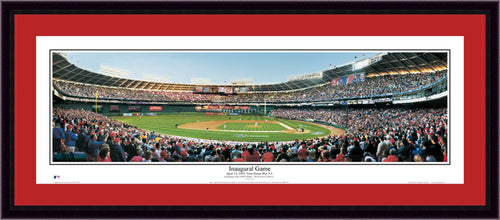 Washington Nationals Inaugural Game at RFK Stadium Framed and Matted Stadium Panorama - Dynasty Sports & Framing