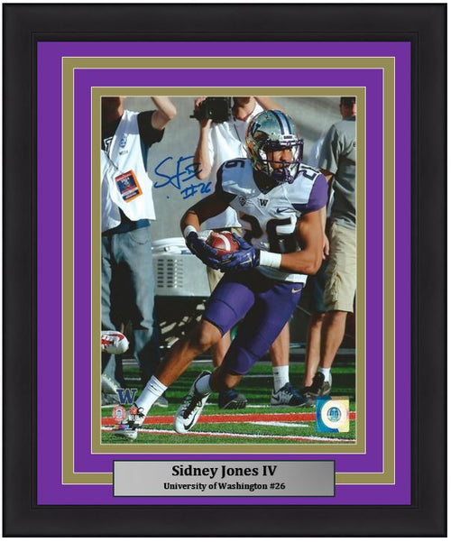Sidney Jones University of Washington Autographed NCAA College Football 8x10 Framed and Matted Photo (Huskies Matting)