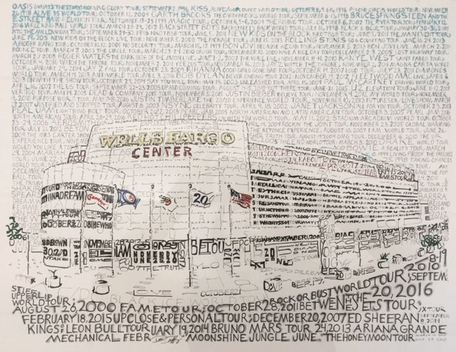 "Philadelphia Wells Fargo Center Concert History Daniel Duffy Word Art 16"" x 20"" Photo - Dynasty Sports & Framing"