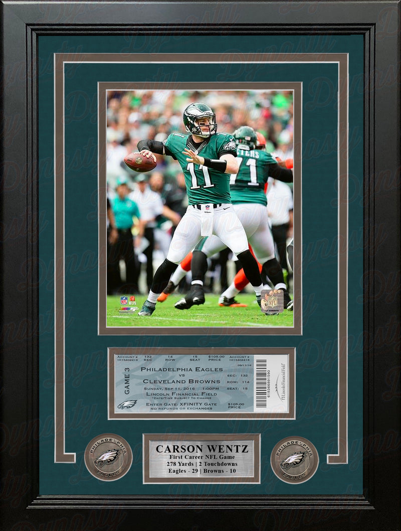 Carson Wentz First Career Win Philadelphia Eagles Framed Photo with Replica 1st Win Game Ticket - Dynasty Sports & Framing