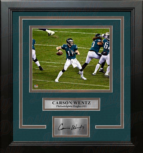 "Carson Wentz in Action Philadelphia Eagles 8"" x 10"" Framed Football Photo with Engraved Autograph - Dynasty Sports & Framing"