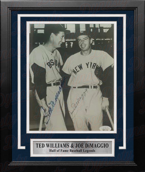 "Ted Williams & Joe DiMaggio Autographed 8"" x 10"" Framed Baseball Photo - JSA Authenticated - Dynasty Sports & Framing"
