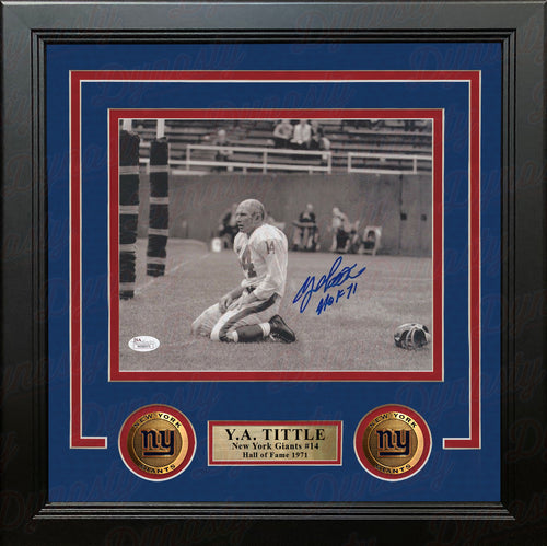 "Y.A. Tittle New York Giants Agony of Defeat Autographed 8"" x 10"" Framed Football Photo - Dynasty Sports & Framing"
