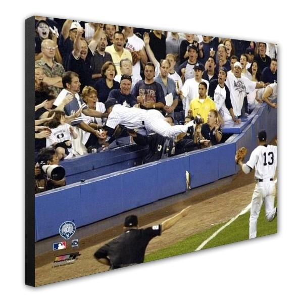 "Derek Jeter Dive Into The Stands New York Yankees 11"" x 14"" Baseball Canvas - Dynasty Sports & Framing"