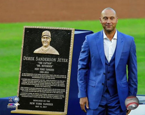"Derek Jeter Number Retirement Plaque New York Yankees 8"" x 10"" Horizontal Baseball Photo - Dynasty Sports & Framing"