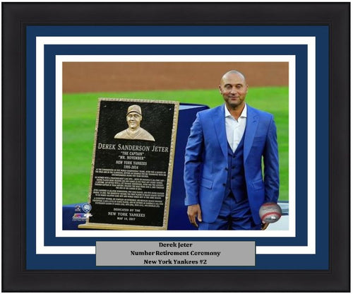 "Derek Jeter Number Retirement Plaque New York Yankees 8"" x 10"" Framed Horizontal Baseball Photo - Dynasty Sports & Framing"