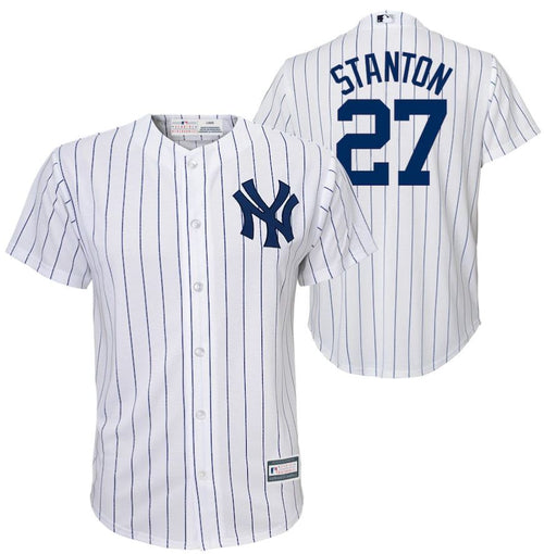 Giancarlo Stanton New York Yankees Majestic Youth Home Official Cool Base Player Jersey - White - Dynasty Sports & Framing