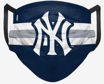 New York Yankees Stripe Big Logo Pleated Face Cover Mask - Dynasty Sports & Framing