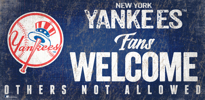 New York Yankees Fans Welcome Wood Sign - Dynasty Sports & Framing