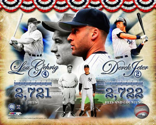 "New York Yankees Derek Jeter & Lou Gehrig Yankees Hit Leaders 8"" x 10"" Photo - Dynasty Sports & Framing"
