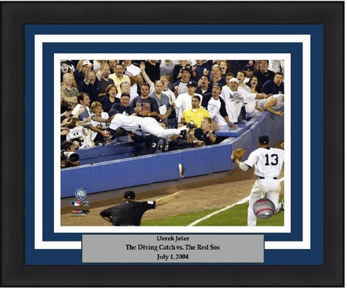 "New York Yankees Derek Jeter Dive Into The Stands (Color) MLB Baseball 8"" x 10"" Framed and Matted Photo - Dynasty Sports & Framing"