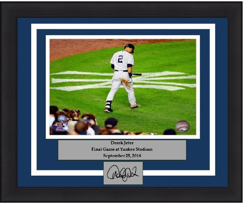 "New York Yankees Derek Jeter Final Game at Yankee Stadium (Walking on the Logo) Engraved Signature 8"" x 10"" Framed and Matted Photo - Dynasty Sports & Framing"