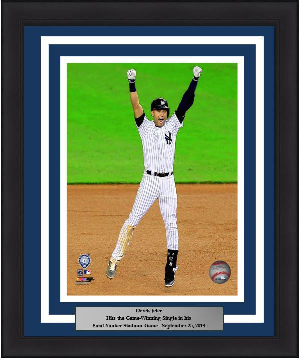 "New York Yankees Derek Jeter Final Game at Yankee Stadium Walk-Off Celebration 8"" x 10"" Framed and Matted Photo - Dynasty Sports & Framing"