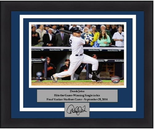 "New York Yankees Derek Jeter Final Game at Yankee Stadium Walk-Off Hit Engraved Signature 8"" x 10"" Framed and Matted Photo - Dynasty Sports & Framing"