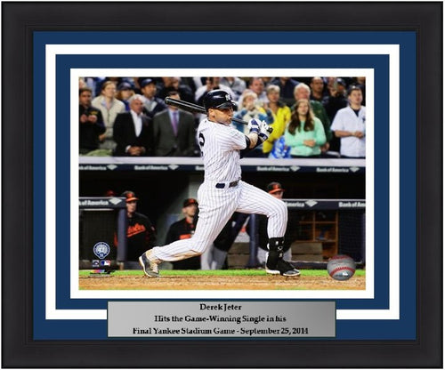 "New York Yankees Derek Jeter Final Game at Yankee Stadium Walk-Off Hit 8"" x 10"" Framed and Matted Photo - Dynasty Sports & Framing"