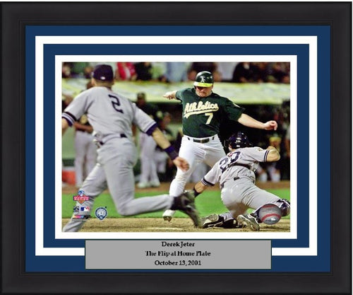 "New York Yankees Derek Jeter Flip to Home MLB Baseball 8"" x 10"" Framed and Matted Photo - Dynasty Sports & Framing"