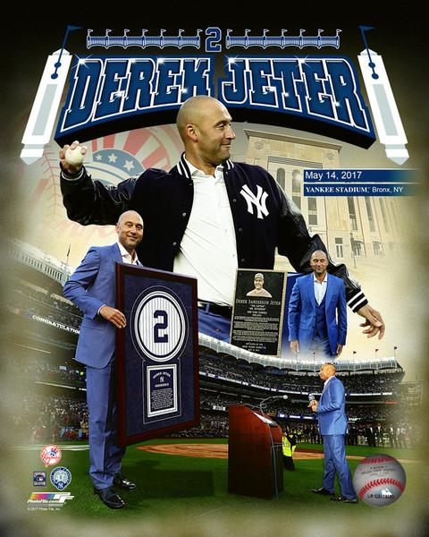"New York Yankees Derek Jeter Number Retirement Collage MLB Baseball 8"" x 10"" Photo - Dynasty Sports & Framing"