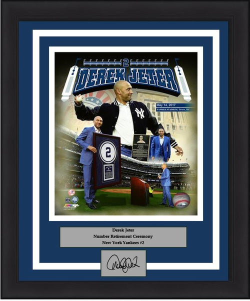 "New York Yankees Derek Jeter Number Retirement Collage Engraved Autograph MLB Baseball 8"" x 10"" Framed and Matted Photo (Dynasty Signature Collection)"