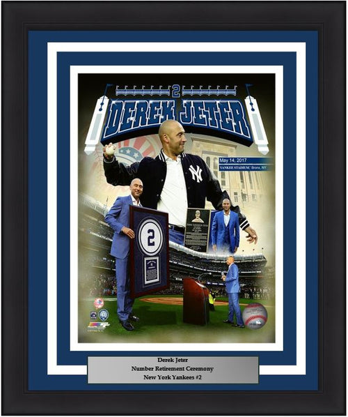 "New York Yankees Derek Jeter Number Retirement Collage MLB Baseball 8"" x 10"" Framed and Matted Photo - Dynasty Sports & Framing"