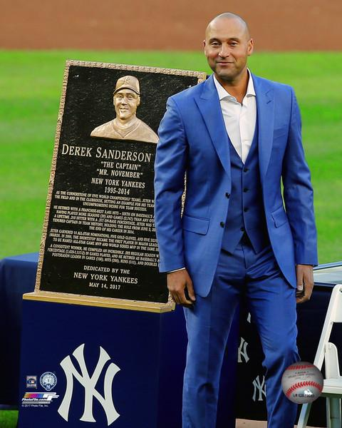 "Derek Jeter Number Retirement Plaque New York Yankees 8"" x 10"" Vertical Baseball Photo - Dynasty Sports & Framing"