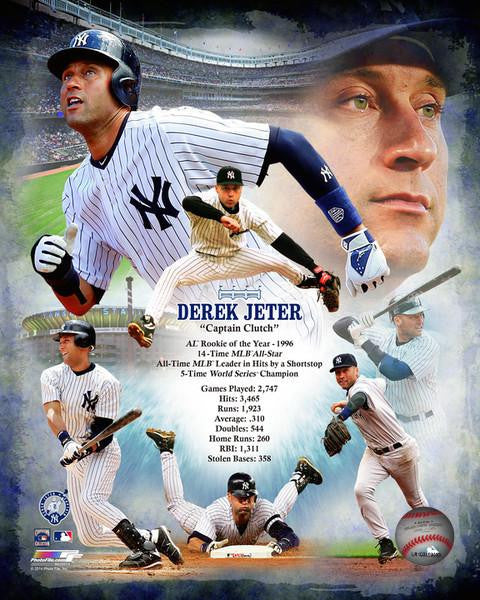 "New York Yankees Derek Jeter Stat Collage MLB Baseball 8"" x 10"" Photo - Dynasty Sports & Framing"