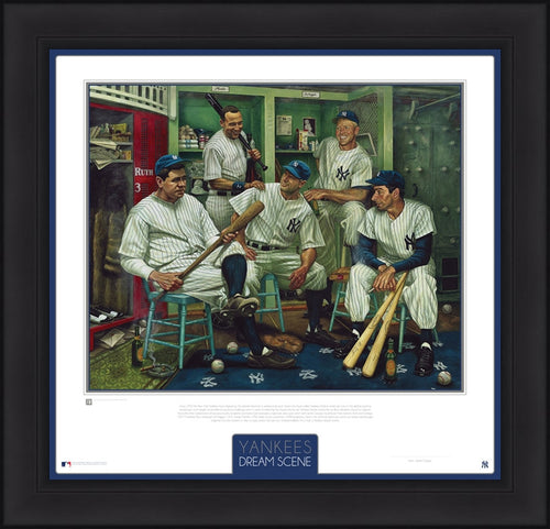 New York Yankees Dream Scene Framed and Matted Lithograph Artwork Print by Artist Jamie Cooper - Dynasty Sports & Framing