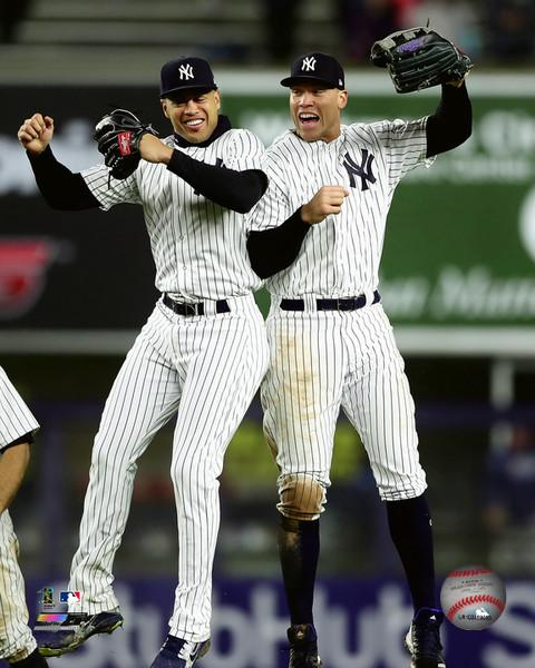 "Giancarlo Stanton & Aaron Judge Celebration New York Yankees MLB Baseball 8"" x 10"" Photo"